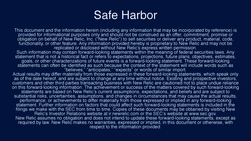 Safe Harbor This document and the information h...