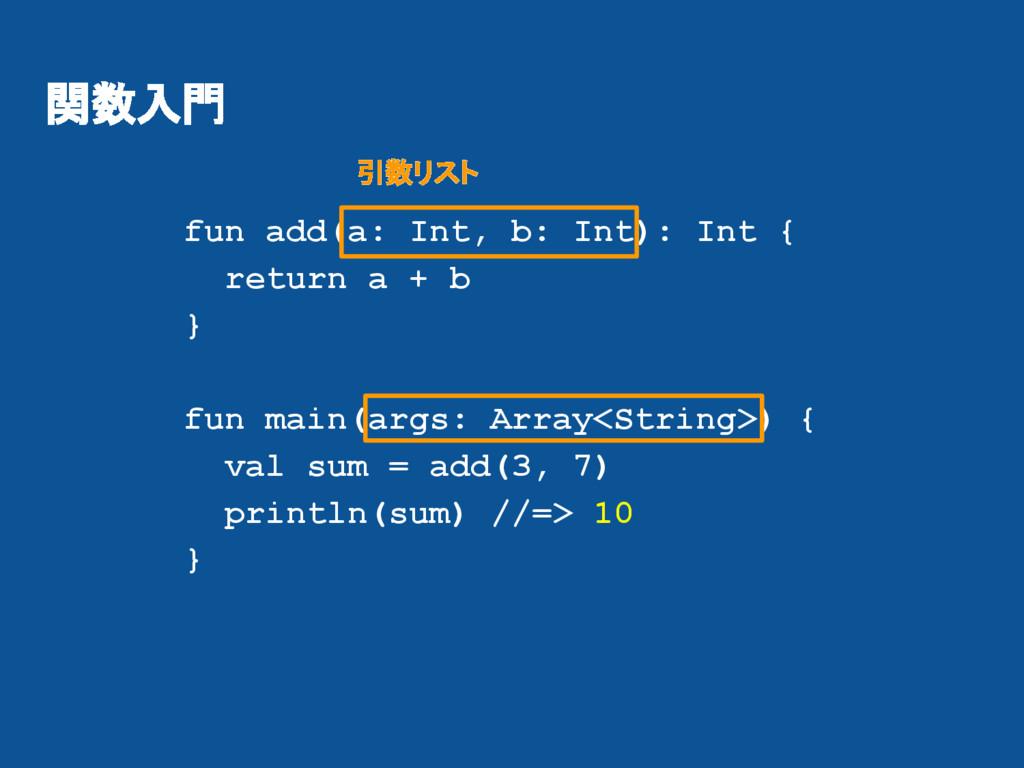 関数入門 fun add(a: Int, b: Int): Int { return a + ...