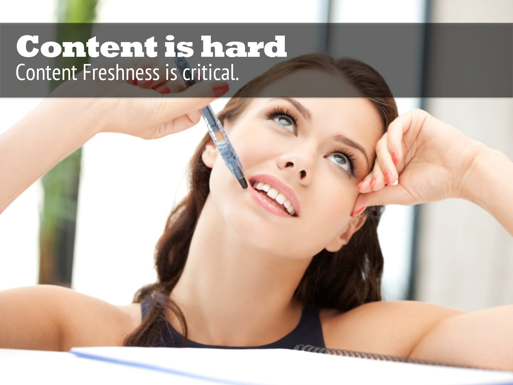 Content is hard Content Freshness is critical.