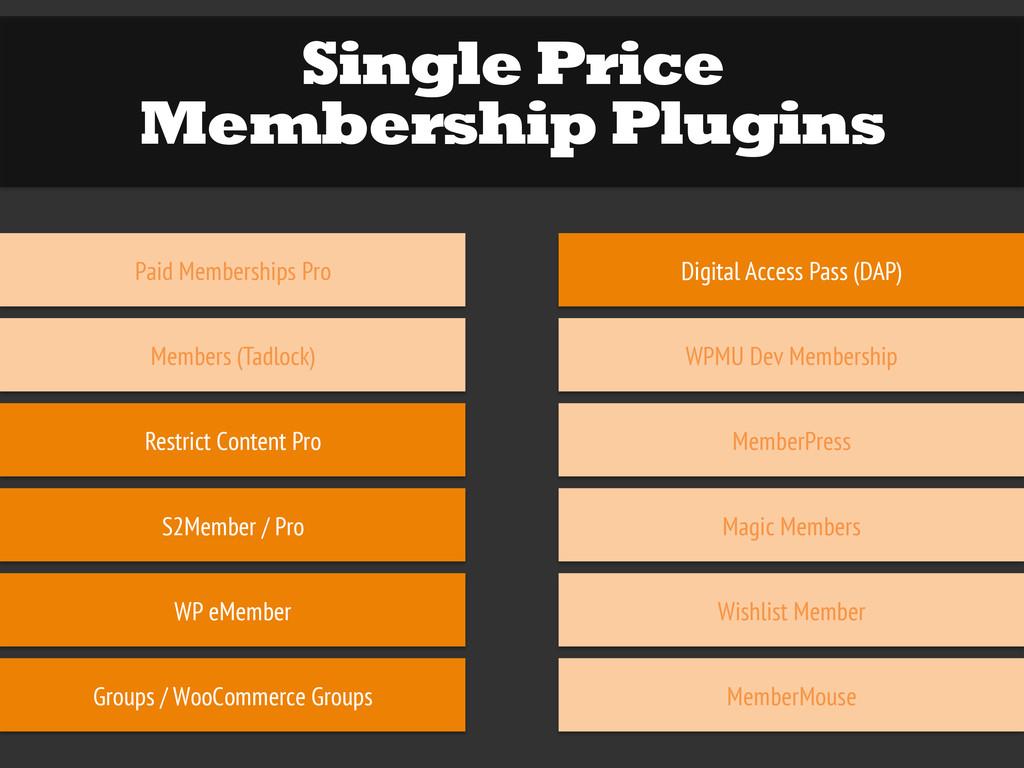 Single Price Membership Plugins Paid Membership...