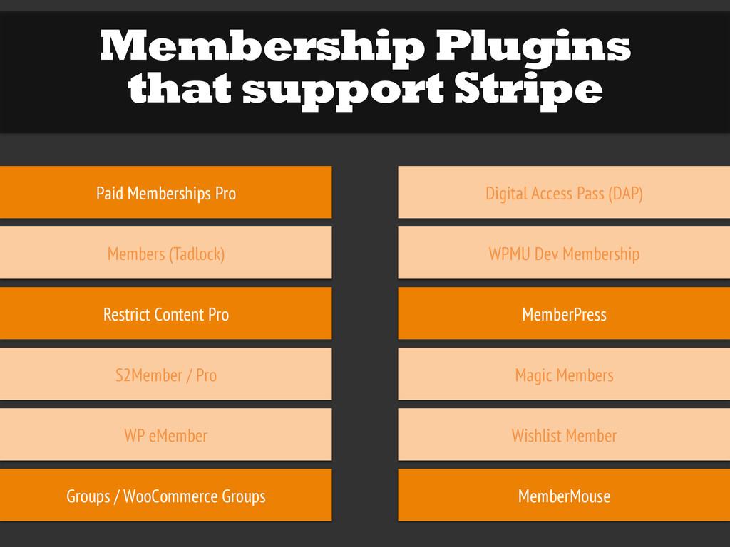 Membership Plugins that support Stripe Paid Mem...