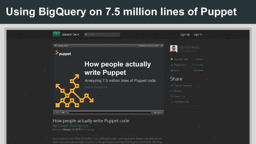 Using BigQuery on 7.5 million lines of Puppet