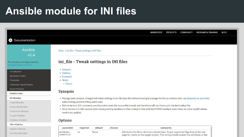 Ansible module for INI files