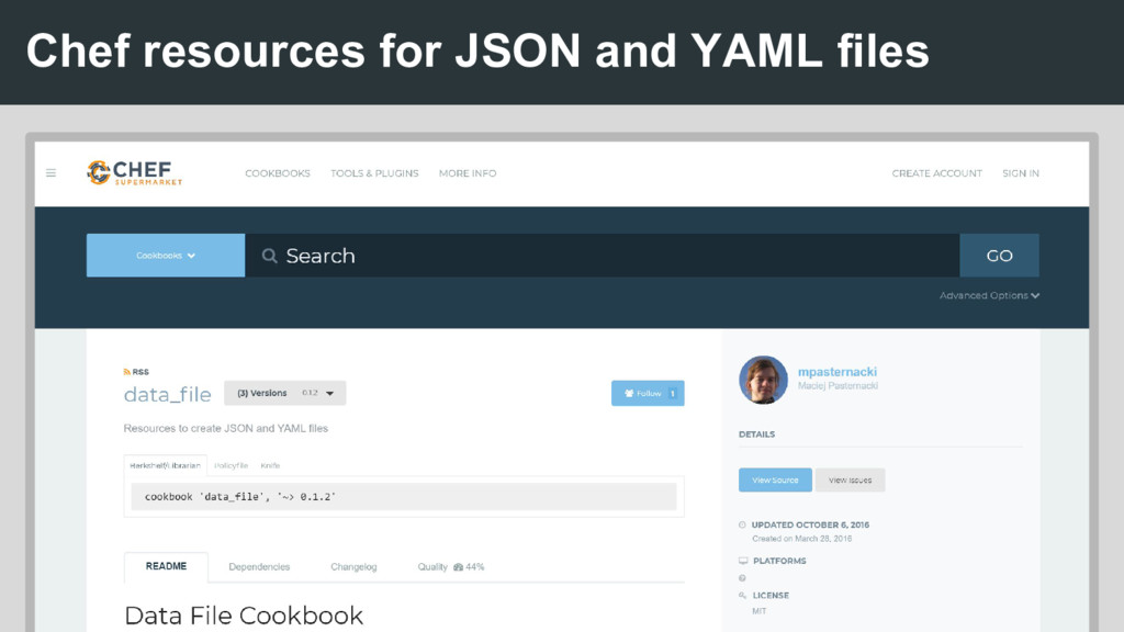 Chef resources for JSON and YAML files