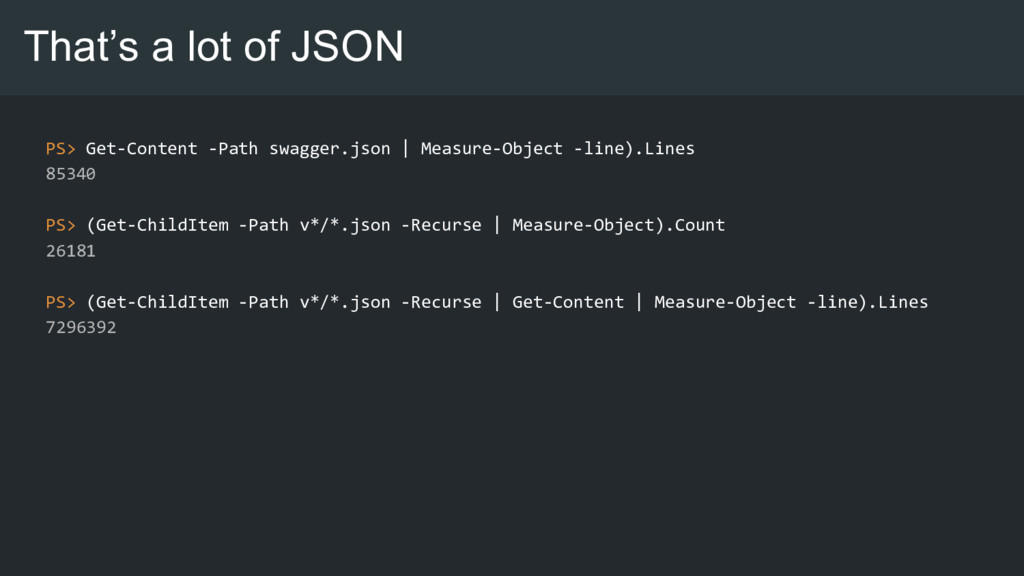 That's a lot of JSON PS> Get-Content -Path swag...