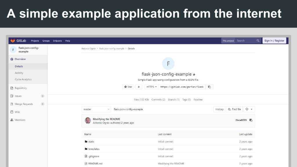 A simple example application from the internet