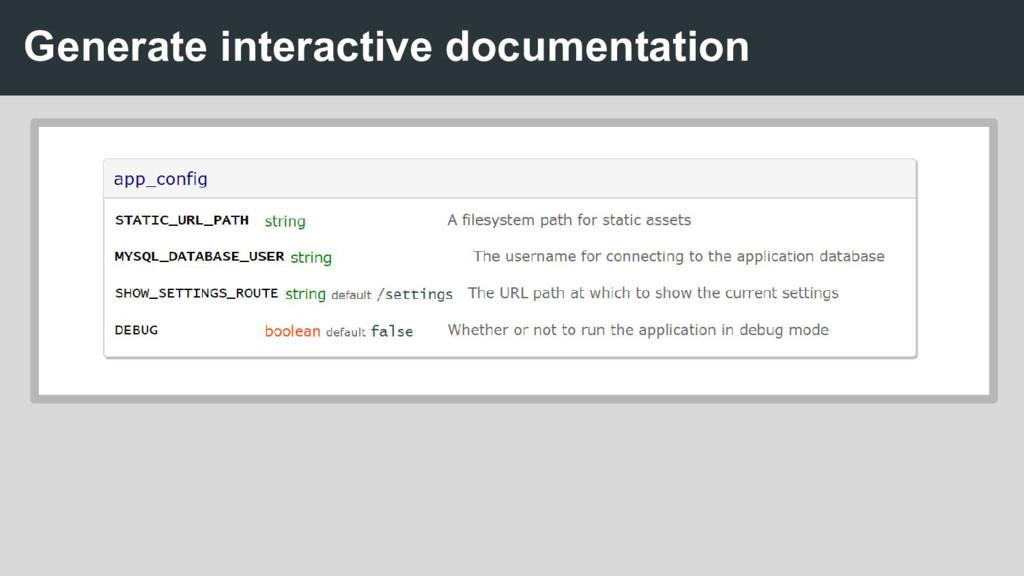 Generate interactive documentation