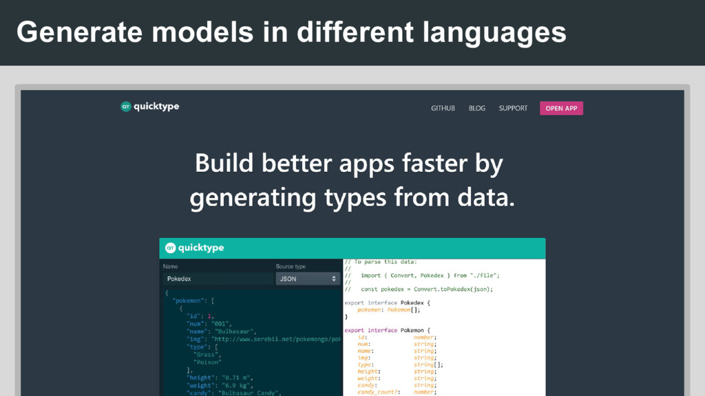Generate models in different languages