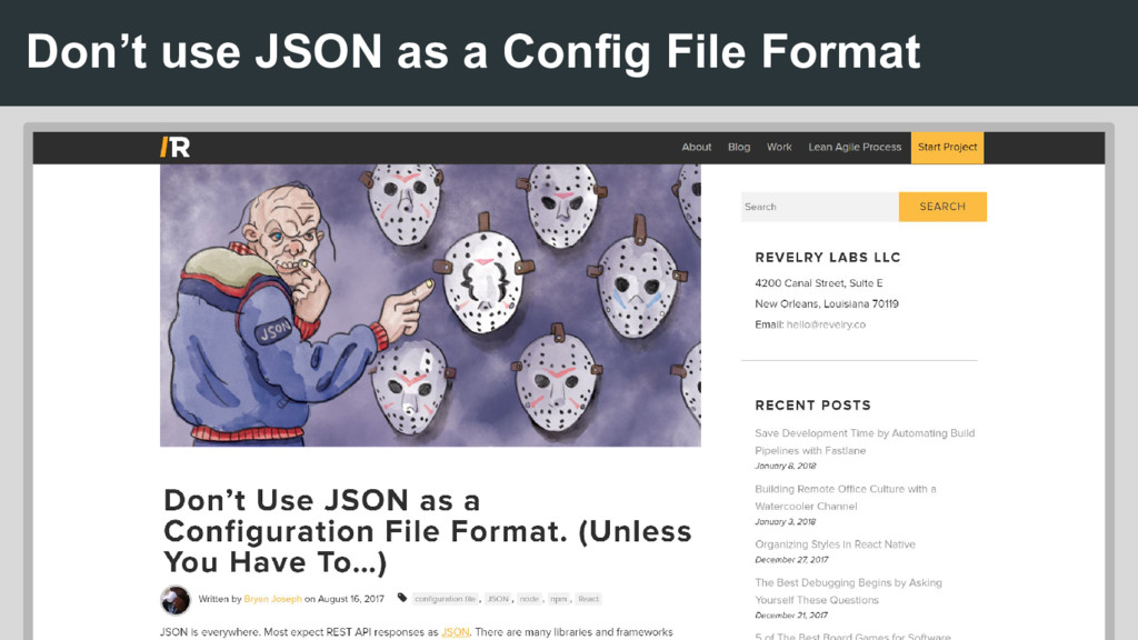 Don't use JSON as a Config File Format