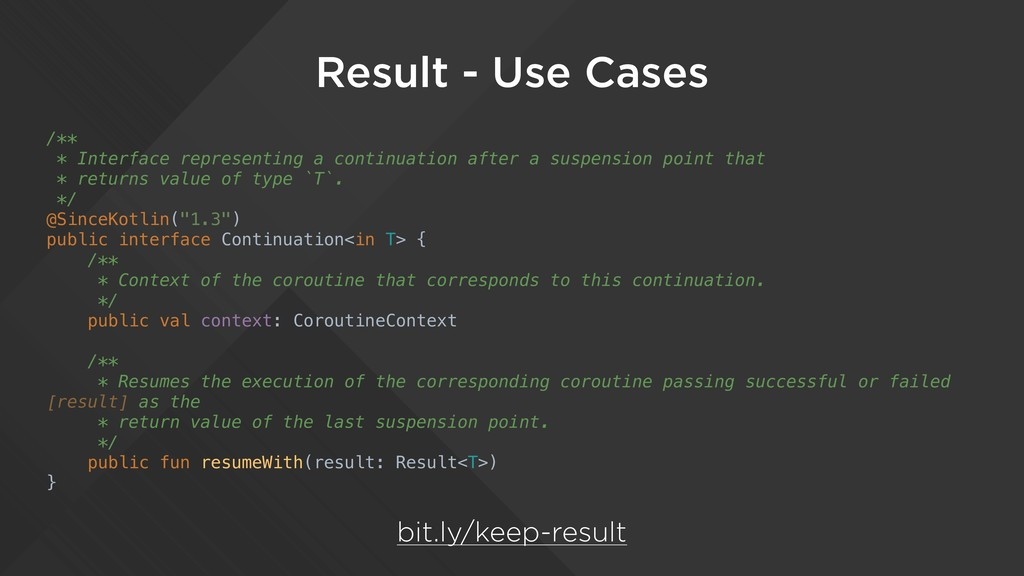 Result - Use Cases /** * Interface representing...