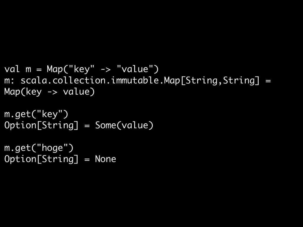 """val m = Map(""""key"""" -> """"value"""")  m: scala.collect..."""