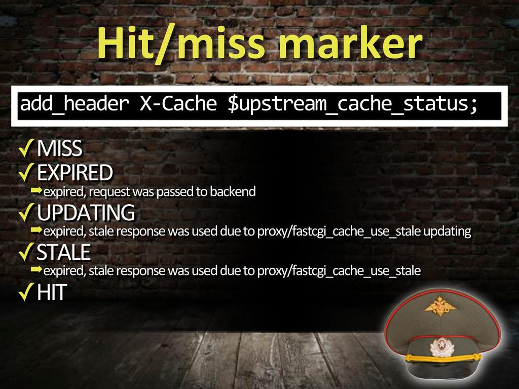 Hit/miss#marker add_header%X3Cache%$upstream_ca...