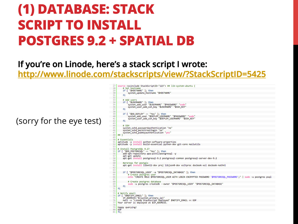 (1) DATABASE: STACK SCRIPT TO INSTALL POSTGRES ...