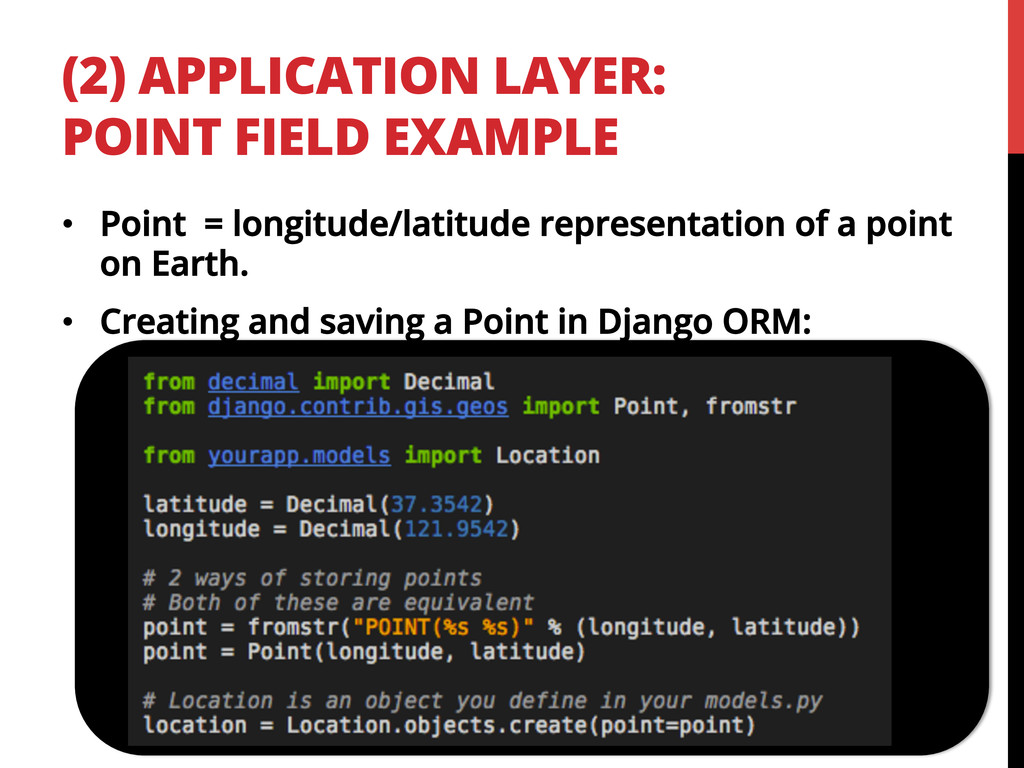 (2) APPLICATION LAYER: POINT FIELD EXAMPLE •  P...