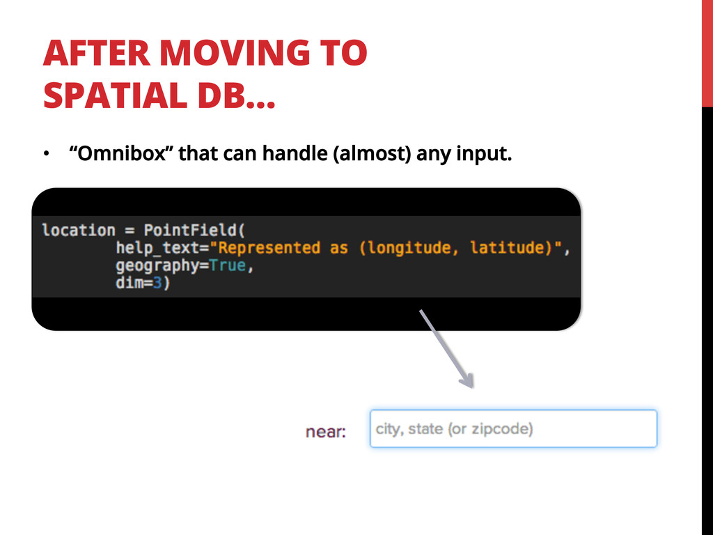 "AFTER MOVING TO SPATIAL DB… •  ""Omnibox"" that c..."