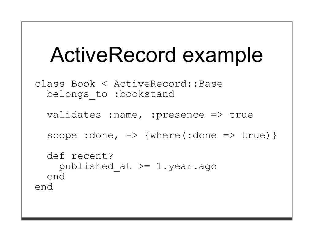 ActiveRecord example class Book < ActiveRecord:...