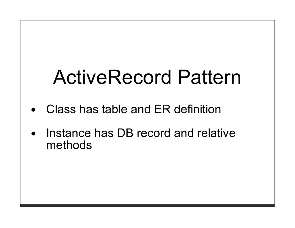 ActiveRecord Pattern Class has table and ER def...