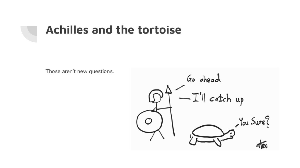 Achilles and the tortoise Those aren't new ques...