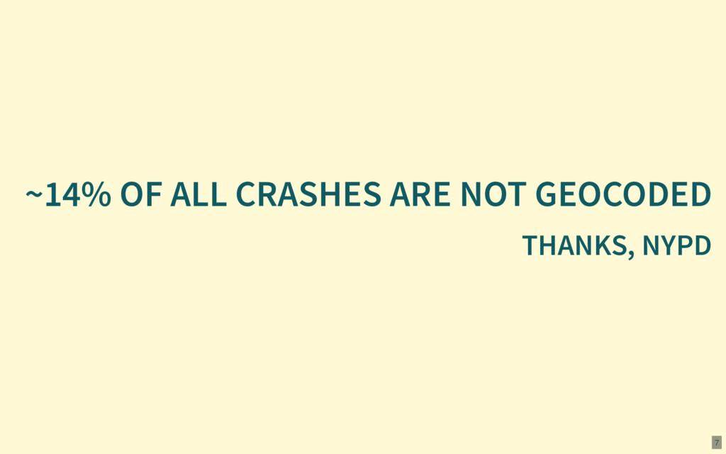 ~14% OF ALL CRASHES ARE NOT GEOCODED THANKS, NY...