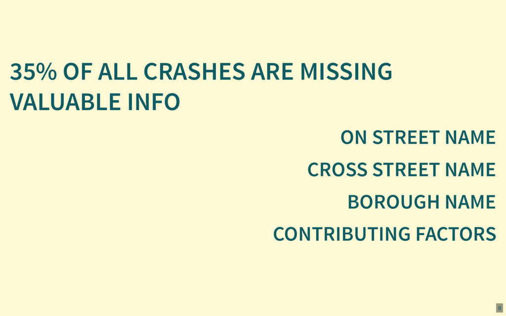 35% OF ALL CRASHES ARE MISSING VALUABLE INFO ON...