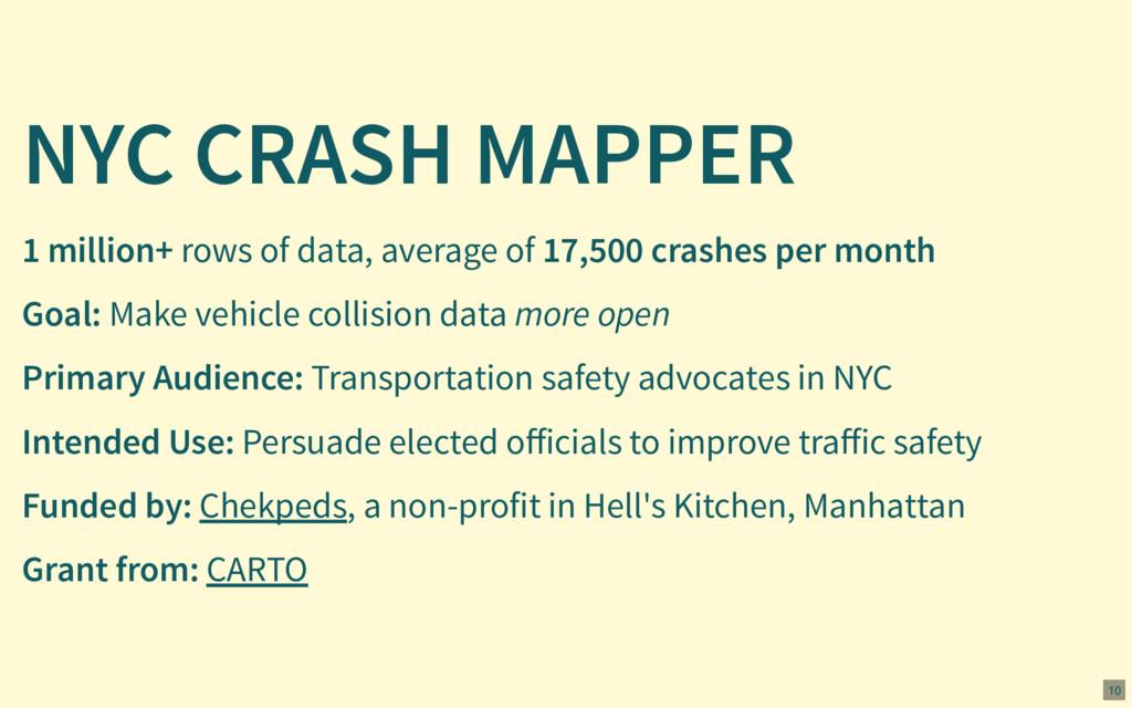 NYC CRASH MAPPER Goal: Make vehicle collision d...