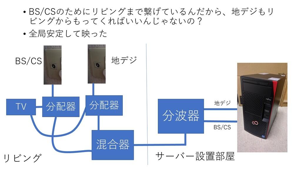 • BS/CSのためにリビングまで繋げているんだから、地デジもリ ビングからもってくればいいん...