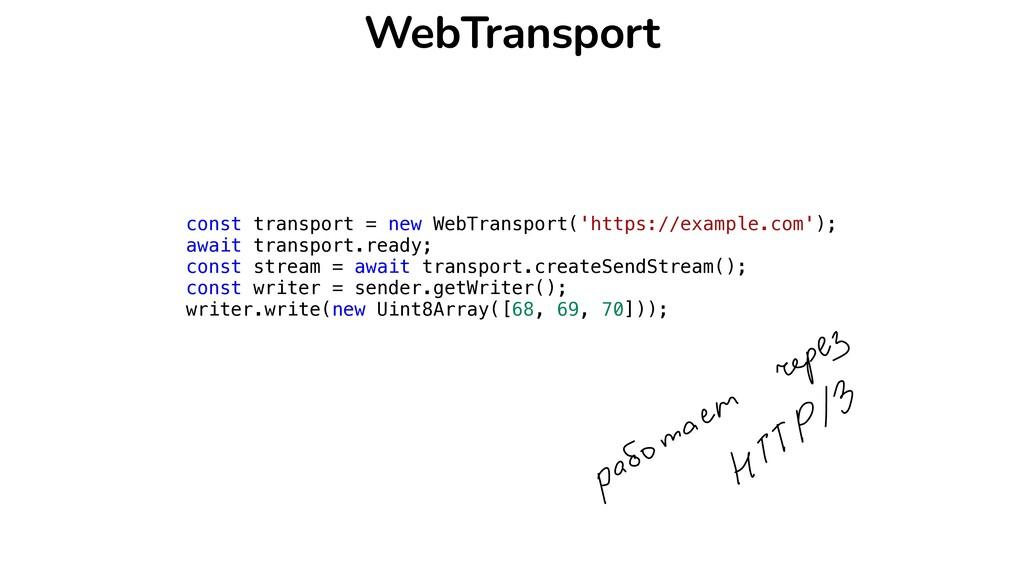 WebTransport const transport = new WebTransport...