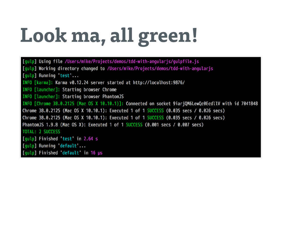 Look ma, all green!