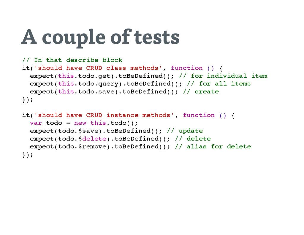 A couple of tests / / I n t h a t d e s c r i b...