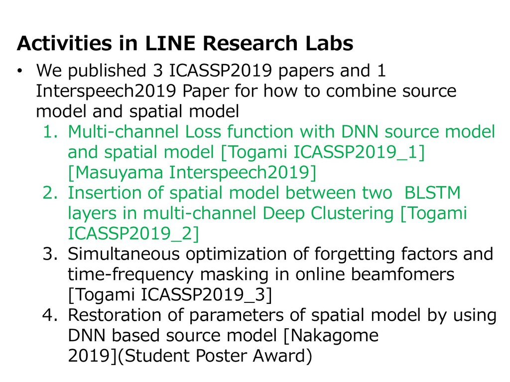 Activities in LINE Research Labs • We published...