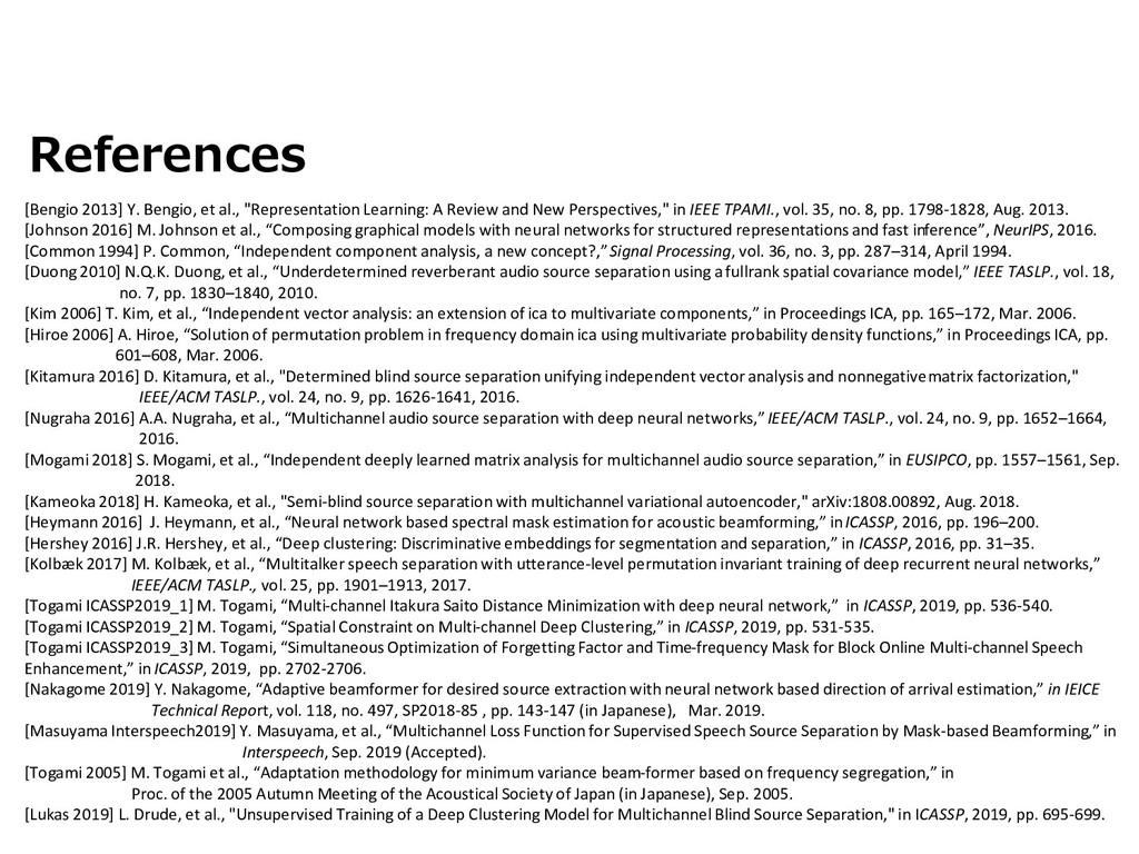 """References [Bengio 2013] Y. Bengio, et al., """"Re..."""