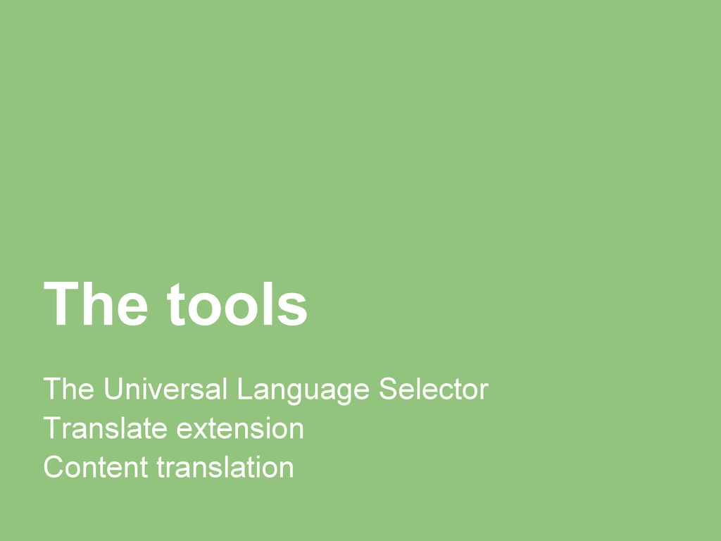 The tools The Universal Language Selector Trans...