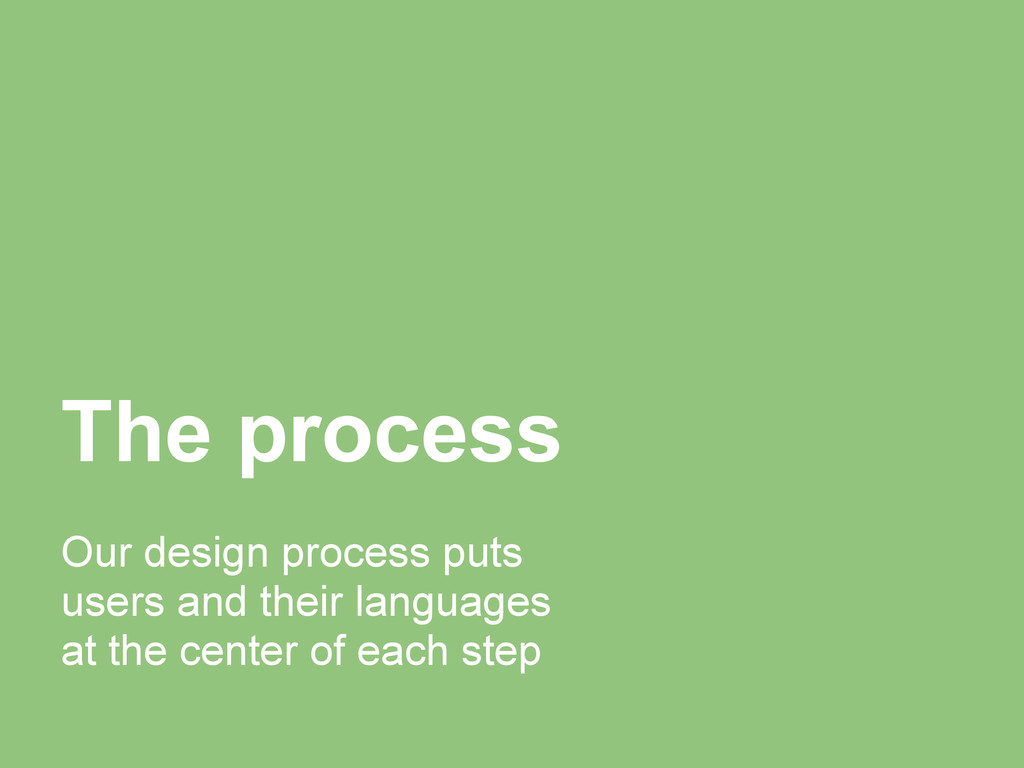 The process Our design process puts users and t...