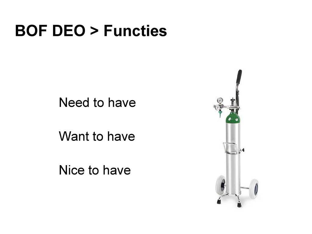 BOF DEO > Functies Need to have Want to have Ni...