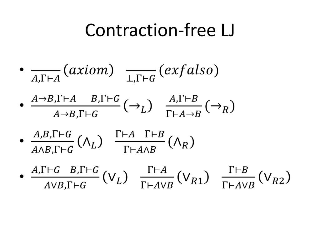 Contraction-free LJ • ,Γ⊢  ⊥,Γ⊢ () • →,Γ⊢ ,Γ⊢ →...
