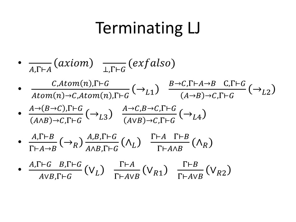 Terminating LJ • ,Γ⊢  ⊥,Γ⊢ () • ,  ,Γ⊢   →,  ,Γ...