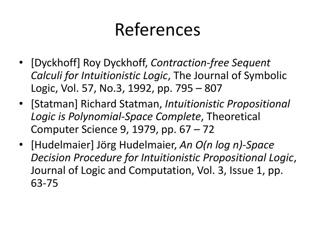 References • [Dyckhoff] Roy Dyckhoff, Contracti...