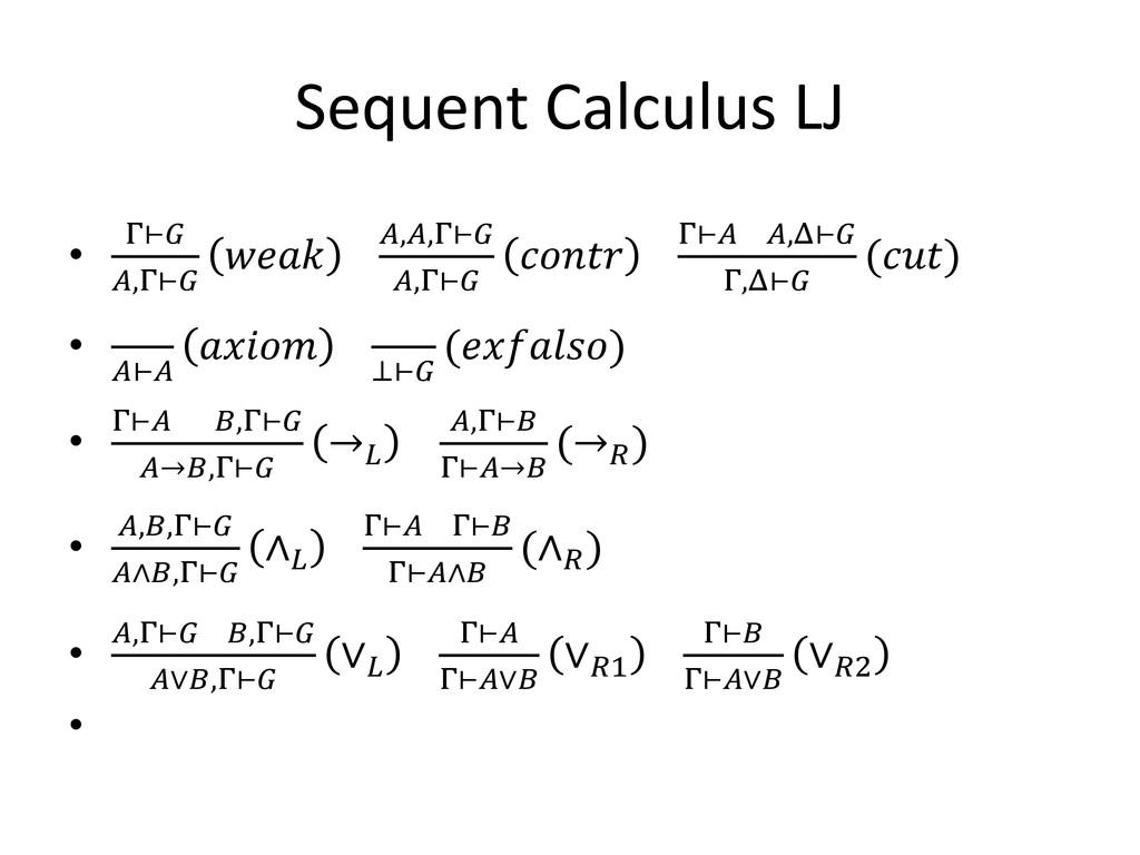 Sequent Calculus LJ • Γ⊢ ,Γ⊢  ,,Γ⊢ ,Γ⊢  Γ⊢ ,Δ⊢ ...