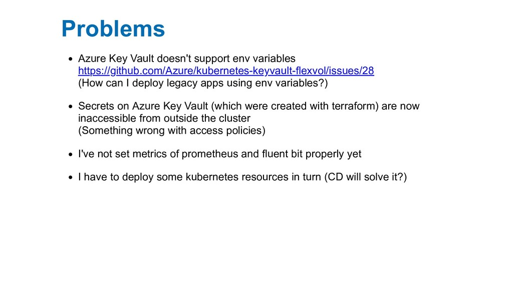 Problems Azure Key Vault doesn't support env va...