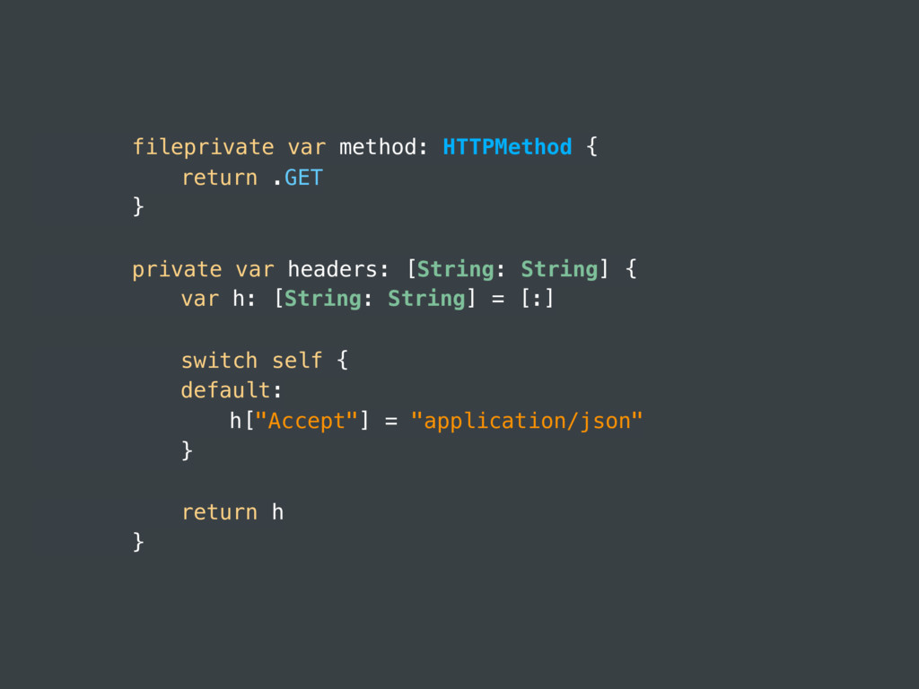 fileprivate var method: HTTPMethod { return .GE...
