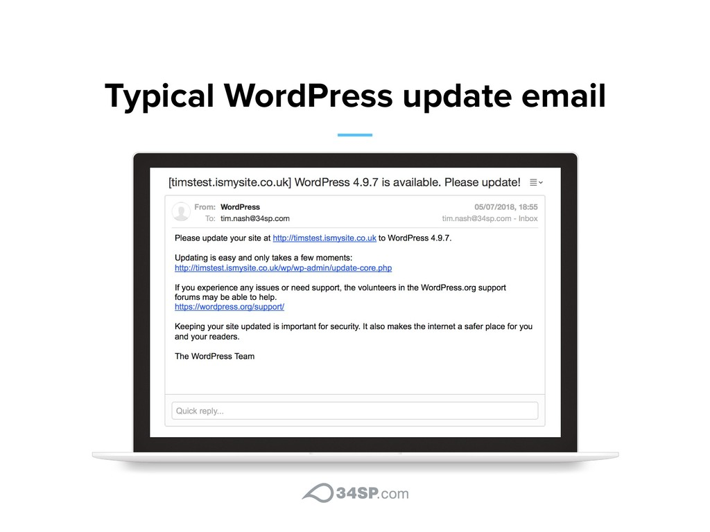 Typical WordPress update email