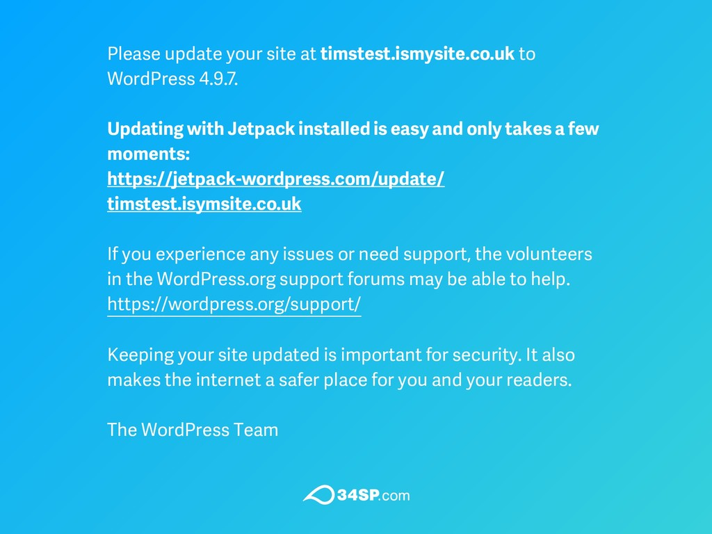 Please update your site at timstest.ismysite.co...