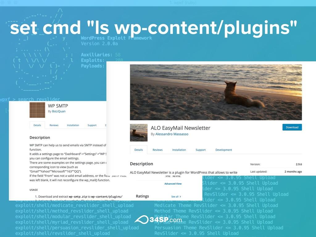 "set cmd ""ls wp-content/plugins"""