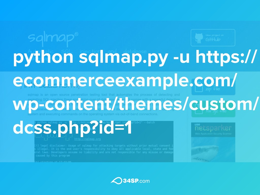 python sqlmap.py -u https:// ecommerceexample.c...