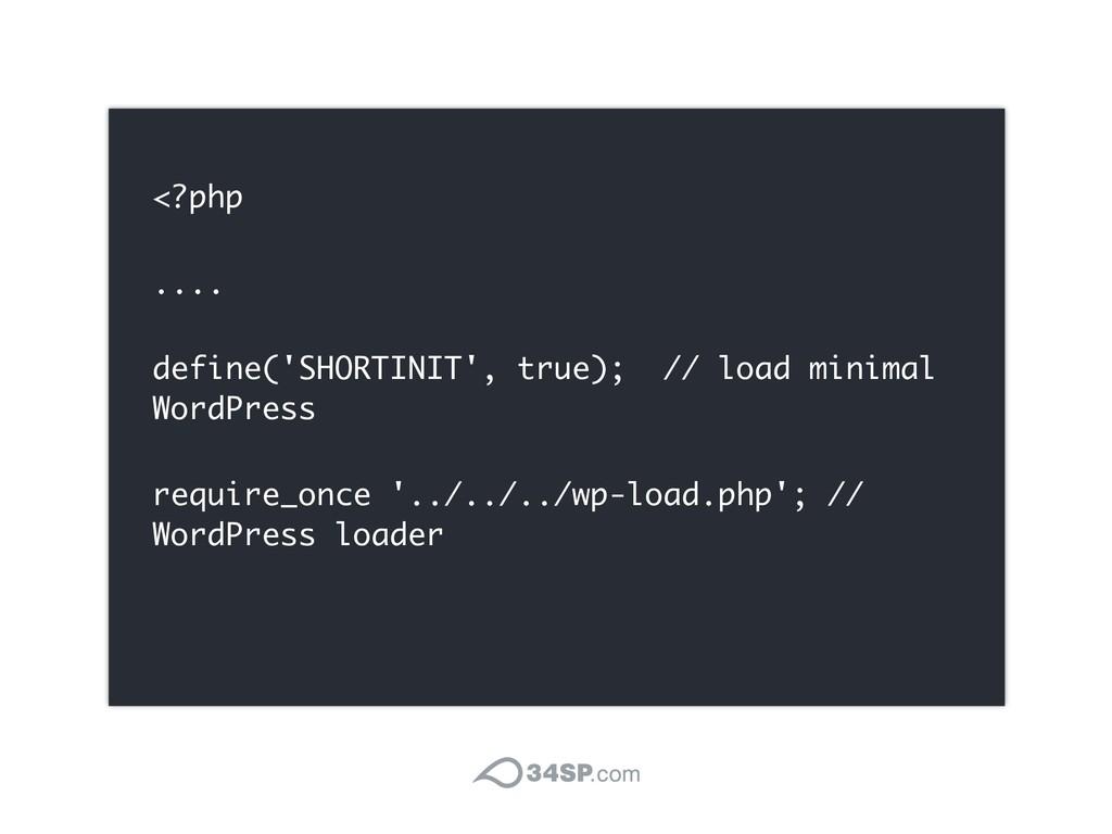 <?php .... define('SHORTINIT', true); // load m...