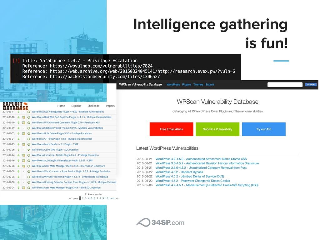 Intelligence gathering is fun!