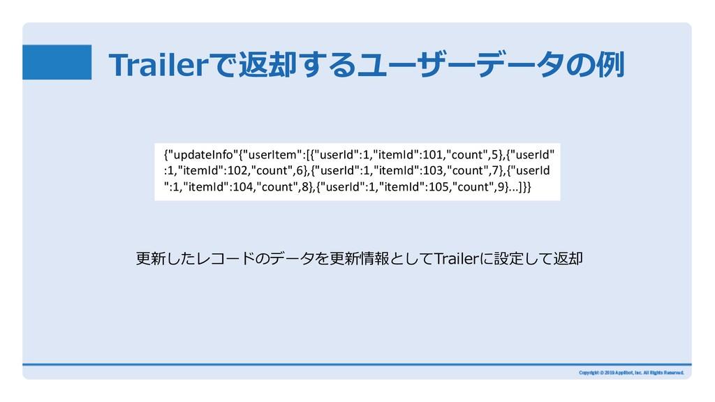 Trailerで返却するユーザーデータの例 更新したレコードのデータを更新情報としてTrail...