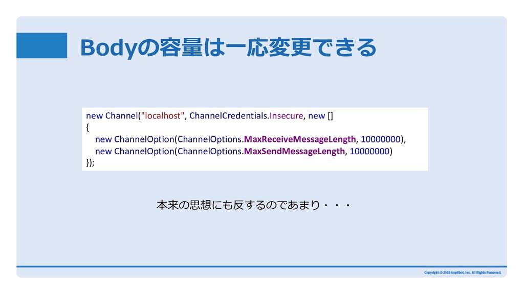 "Bodyの容量は⼀応変更できる new Channel(""localhost"", Channe..."