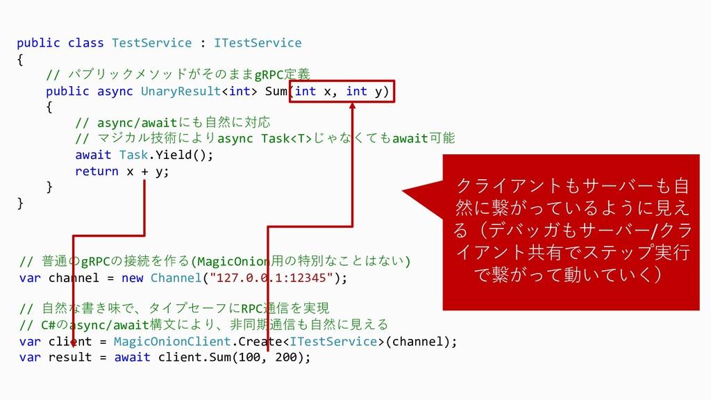 public class TestService : ITestService { // パブ...