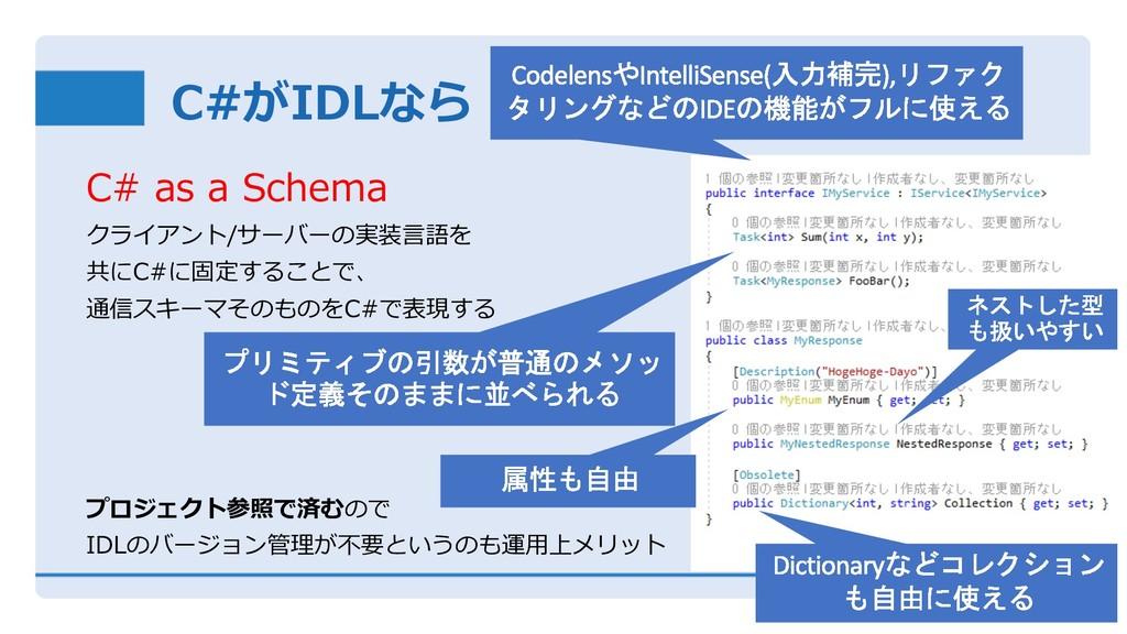 C#がIDLなら C# as a Schema クライアント/サーバーの実装⾔語を 共にC#に...